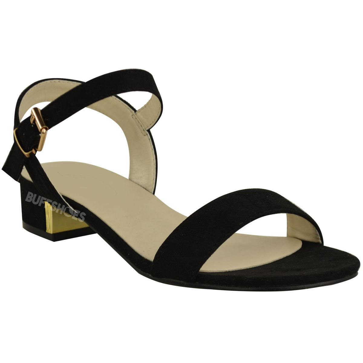 a4541a257 Womens Ladies Low Flat Block Heel Open Toe Summer Sandals Black ...