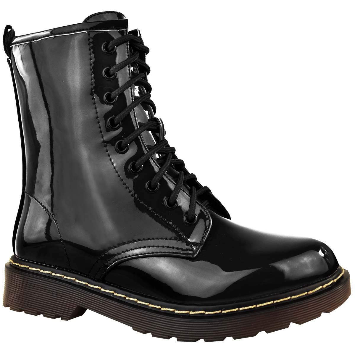 Womens-Doc-Ankle-Boots-Black-Faux-Leather-Patent-Lace-Up-Flat-Work-Army-Air-Goth thumbnail 3