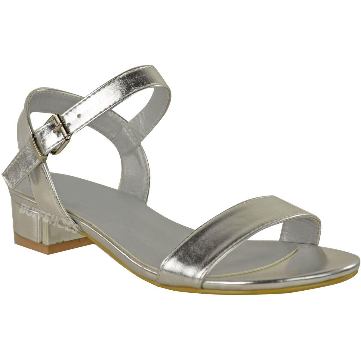 Womens Ladies Strappy Sandals Flat Low Block Heel Summer