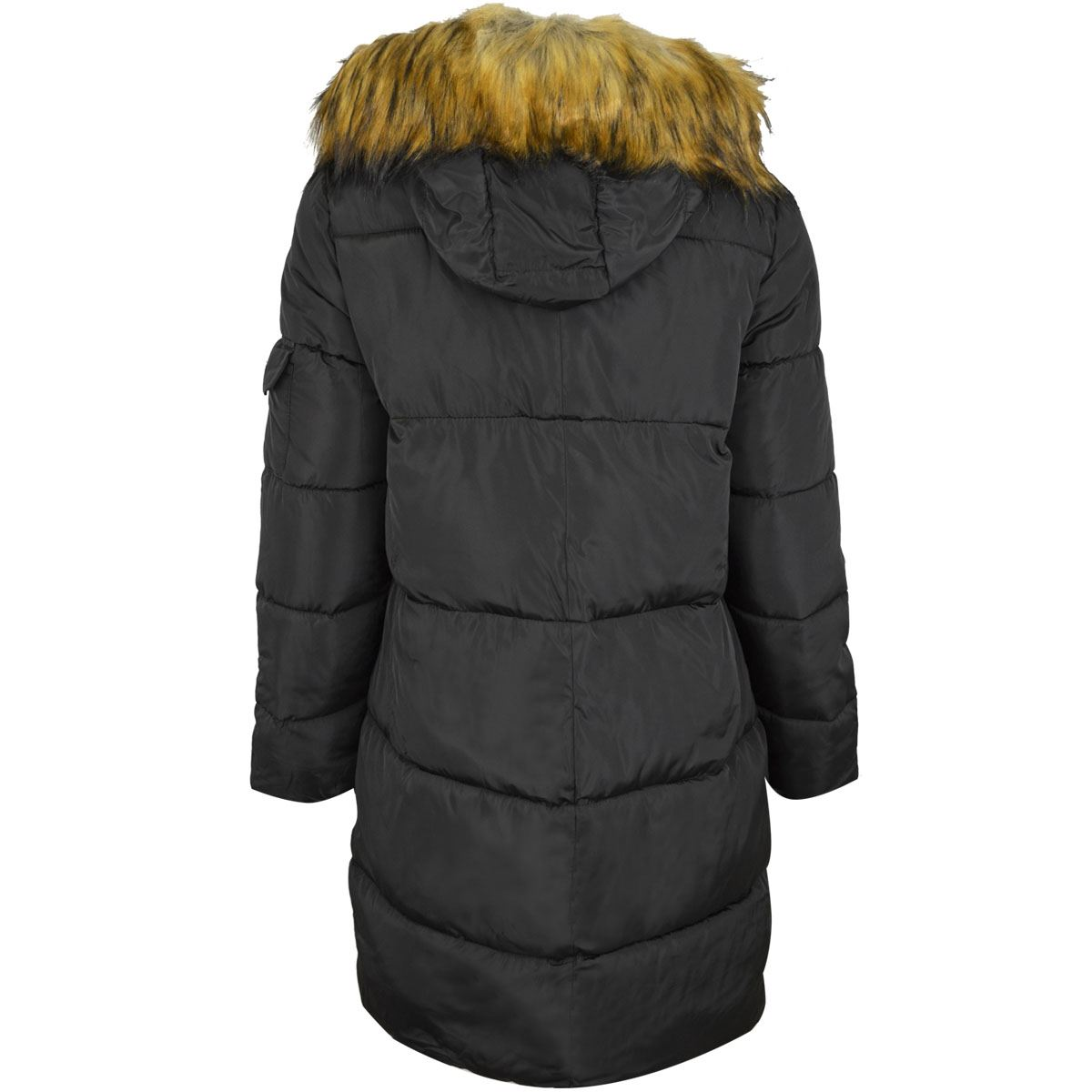 Womens Ladies Long Winter Coat Detachable Furry Hood Warm