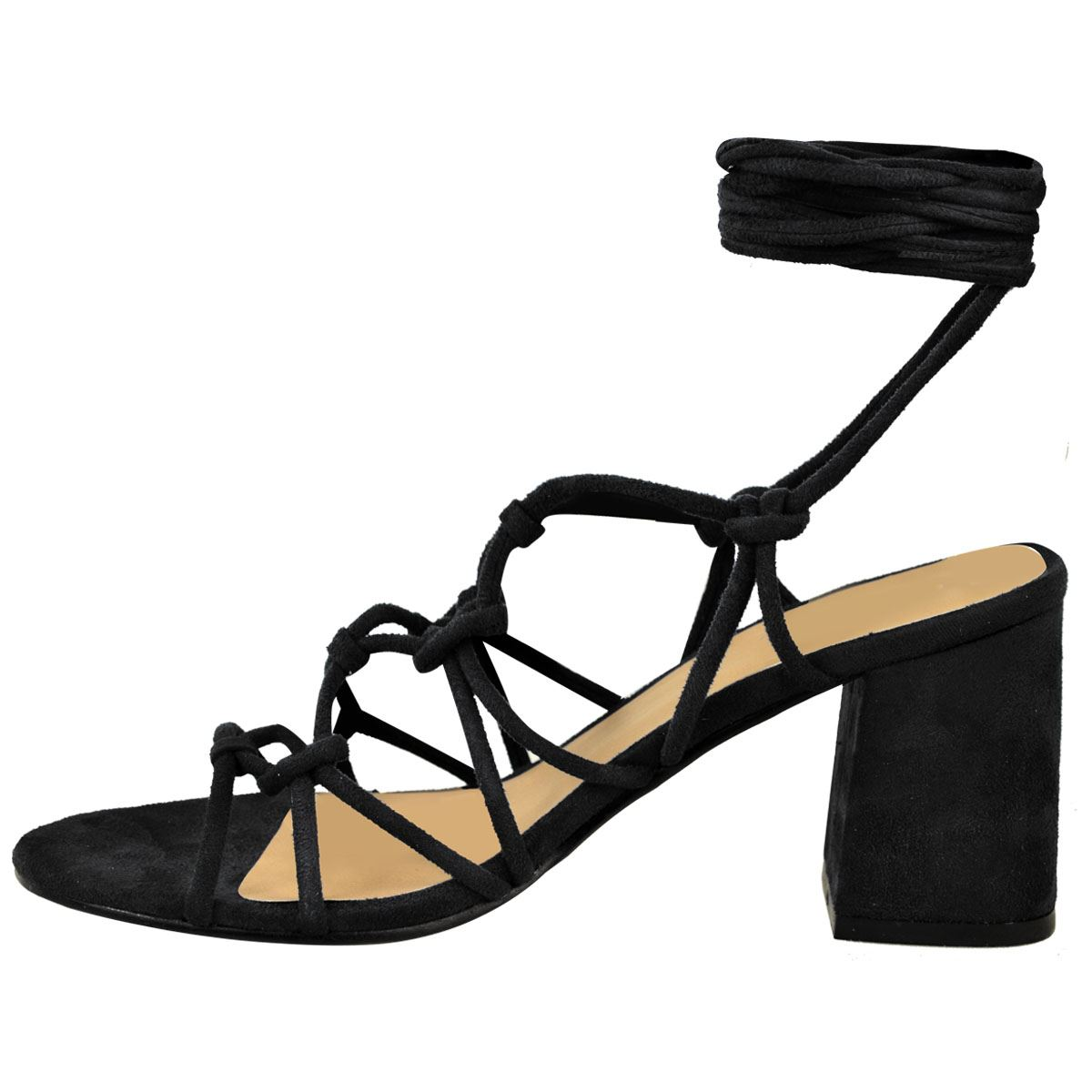 10c268359dfc Womens Ladies Mid Low Block Heel Summer Strappy Sandals Ankle Lace ...