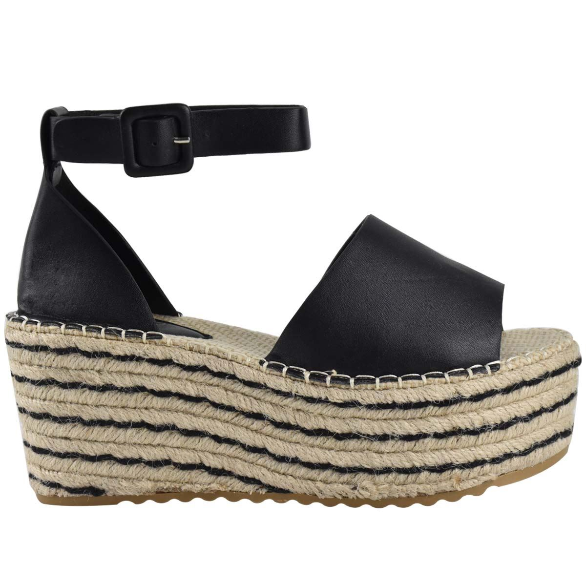 Womens-Flatform-Platform-High-Wedge-Black-Tan-Faux-Leather-Summer-Sandals-Size thumbnail 4