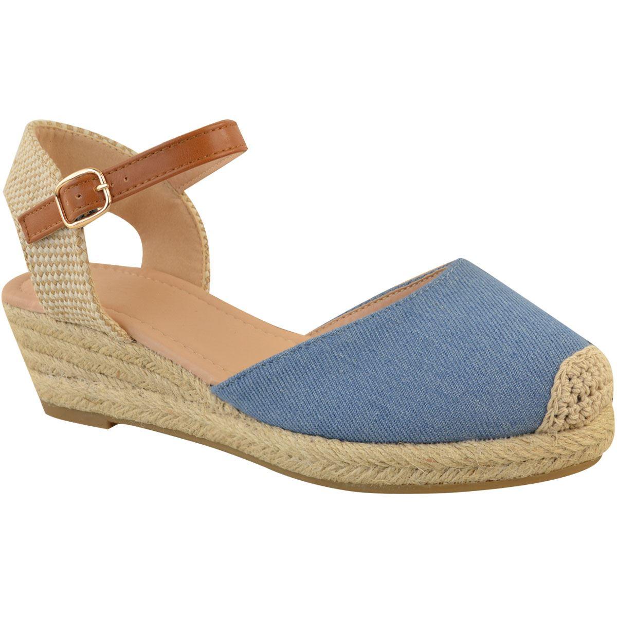 Womens Ladies Low Heel Wedge Espadrilles Summer Sandals ...