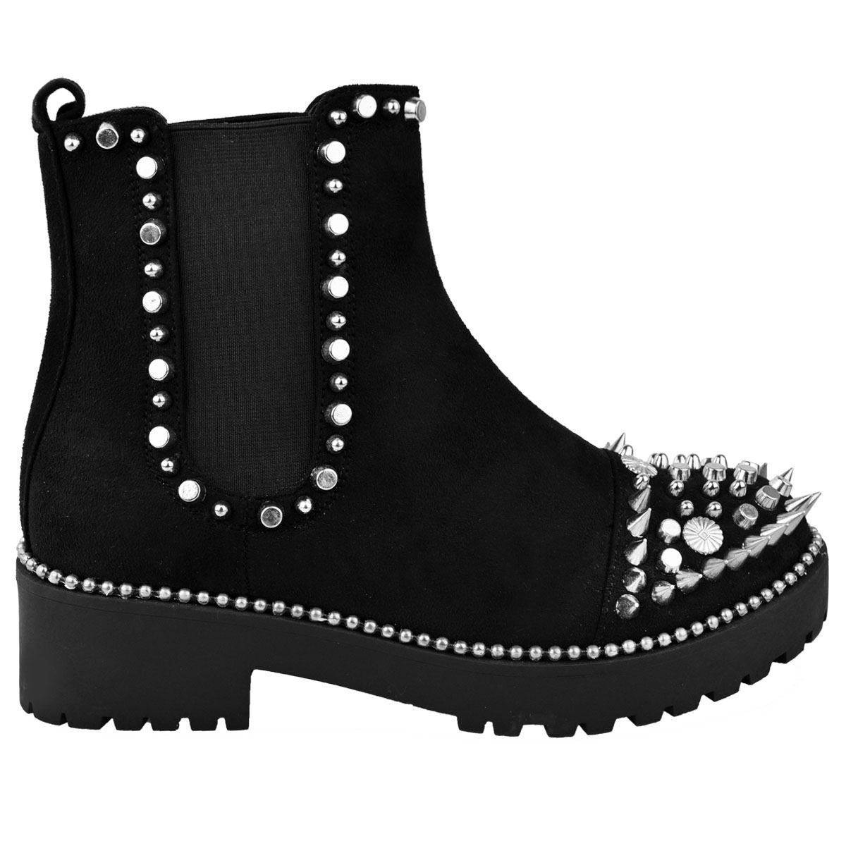 Womens-Ladies-Flat-Ankle-Boots-Studded-Spike-Grunge-Comfy-Thick-Sole-Shoes-Size