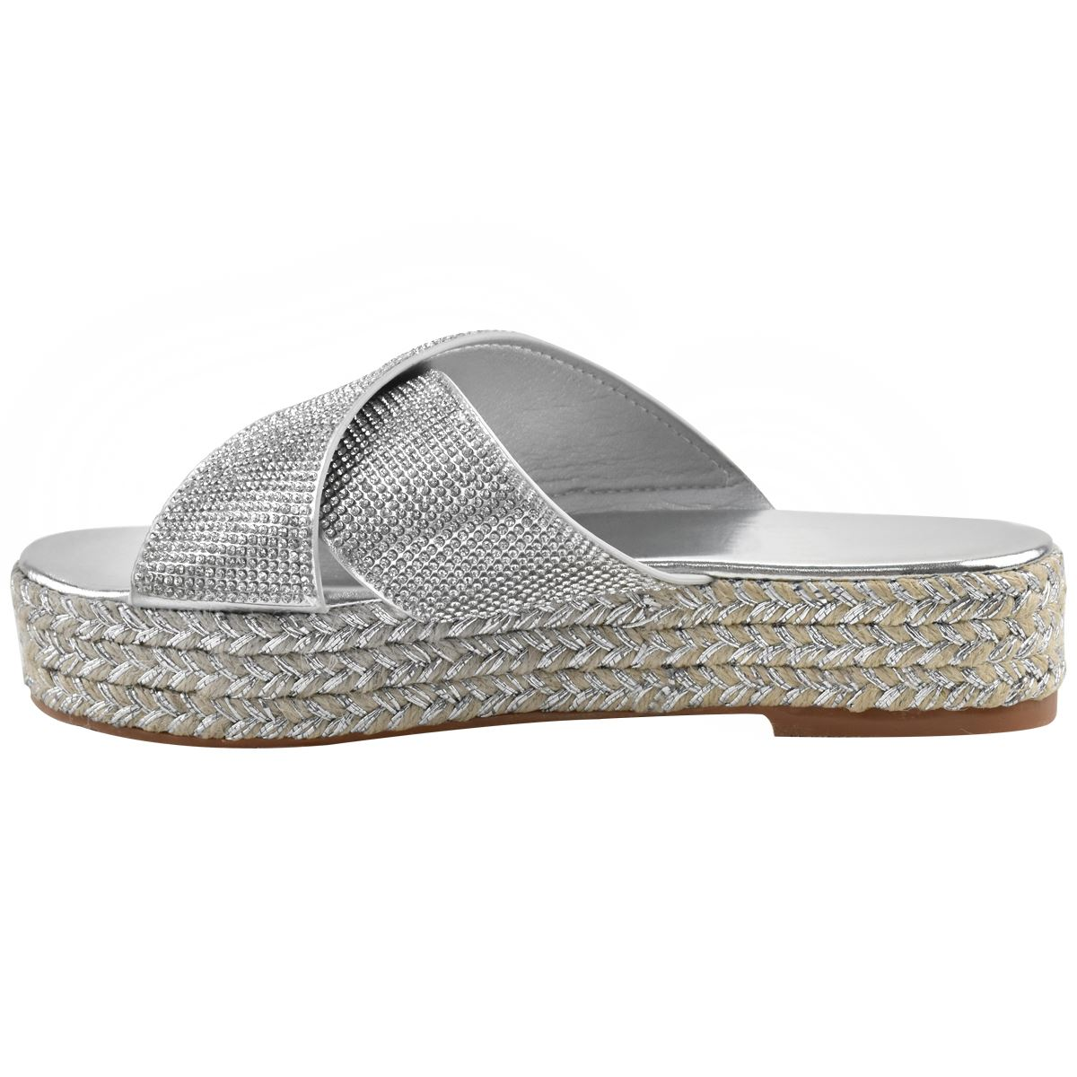 Womens-Diamante-Slip-On-Sandals-Flatforms-Sparkly-Platform-Summer-Size-UK thumbnail 15