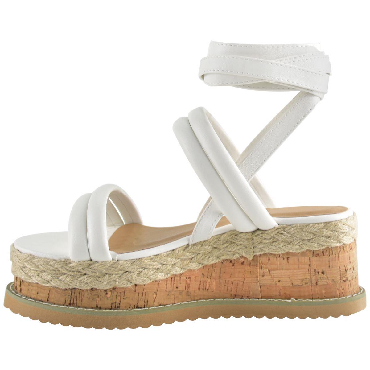d0b75b605ea Womens Summer Espadrilles Flatforms Strappy Sandals Wedge Platform ...