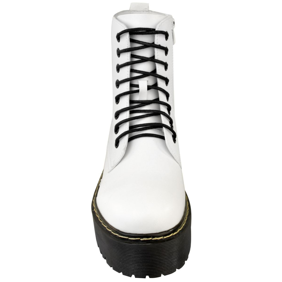 Womens-Ladies-Doc-Chunky-Lace-Up-Ankle-Boots-Platform-Icon-Retro-Goth-Punk-Black thumbnail 16