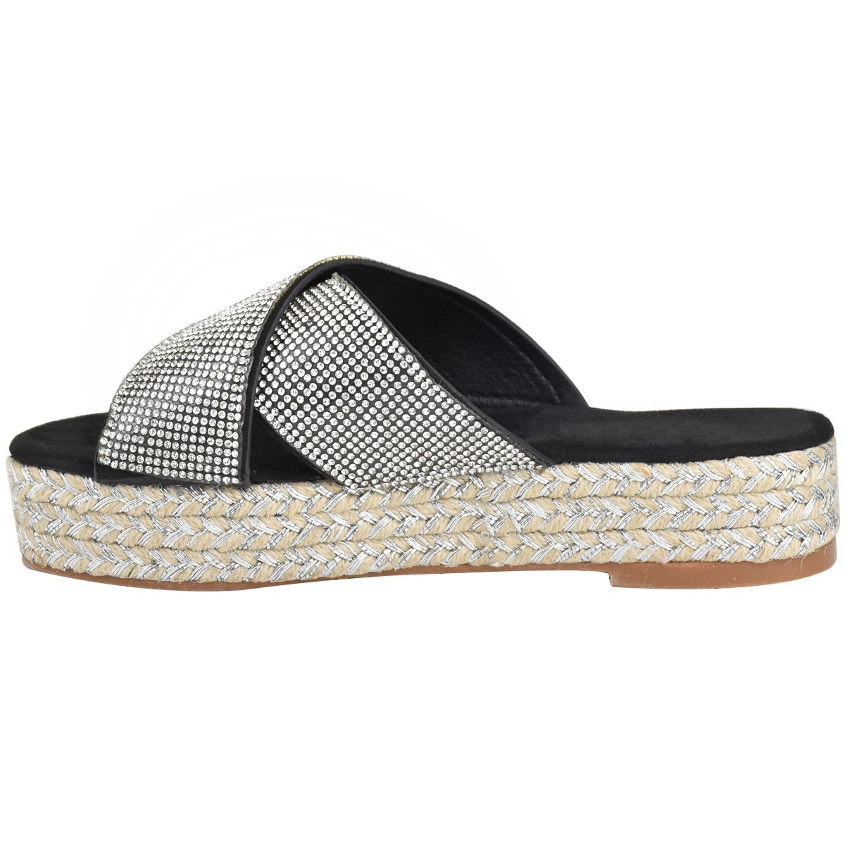Womens-Diamante-Slip-On-Sandals-Flatforms-Sparkly-Platform-Summer-Size-UK thumbnail 5