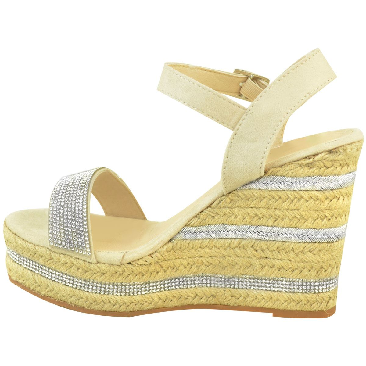 Womens-Ladies-Wedged-High-Heel-Sandals-Raffia-Diamante-Party-Shoes-Summer-Size thumbnail 5