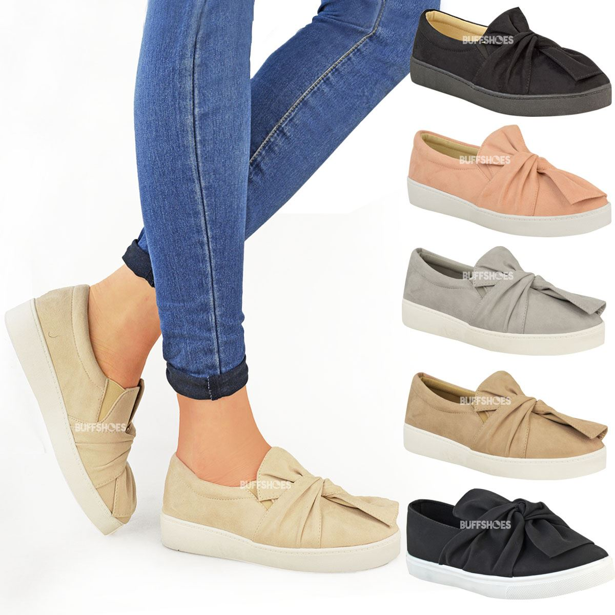 7ab8e18a1 New Womens Ladies Trainers Faux Suede Slip On Flat Bow Sneakers ...