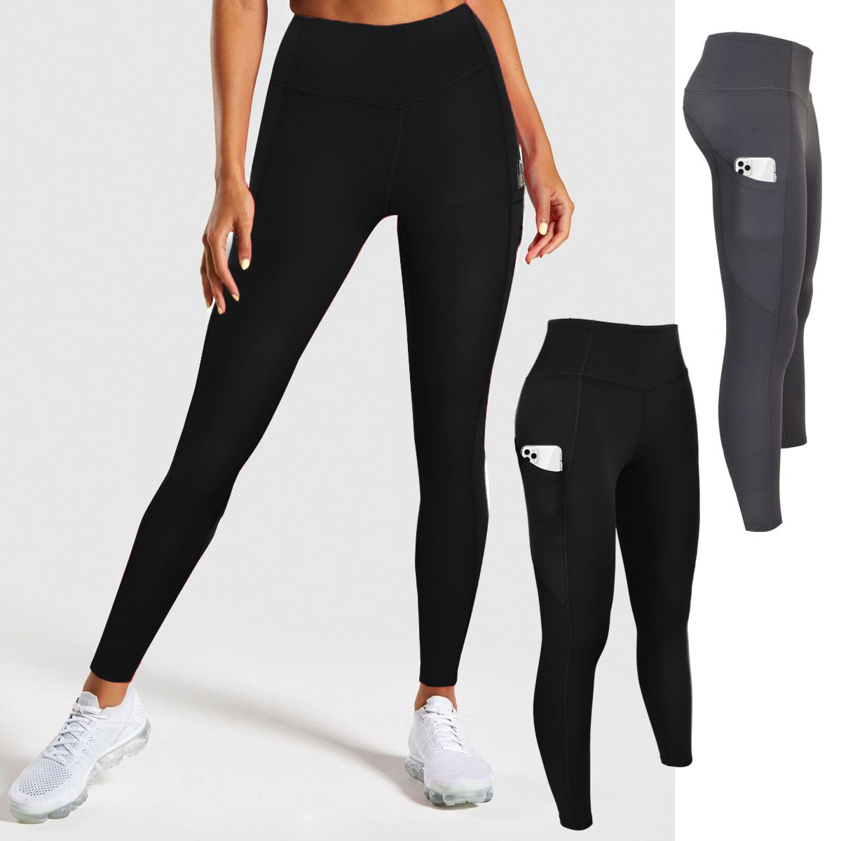 Womens High Thick Waisted Pocket Leggings Tummy Compression No Show Pants Yoga