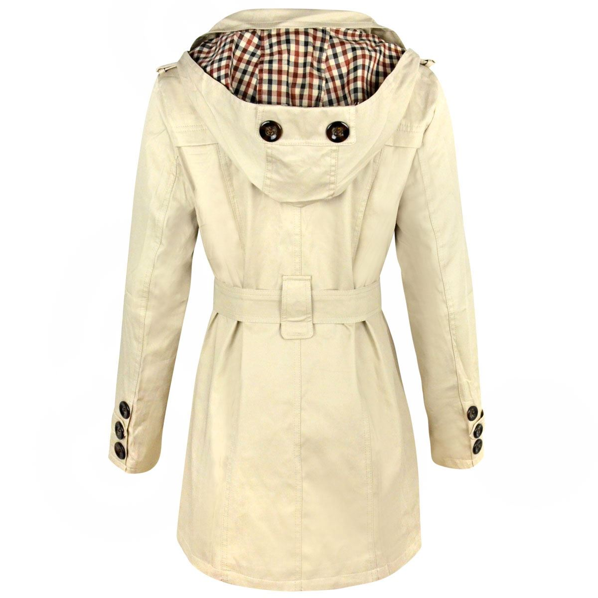 51e0789fb Womens Ladies Double Breasted Button Jacket Belted Buckle Mac Trench ...