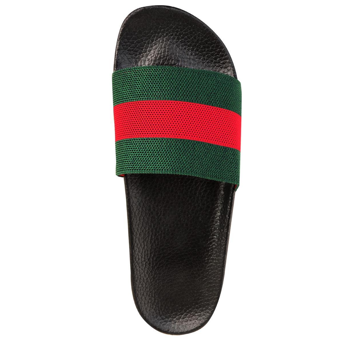 Mens-Guys-Flat-Rubber-Slides-Sliders-Stripe-Sandals-Pool-Beach-Designer-New-Size thumbnail 11