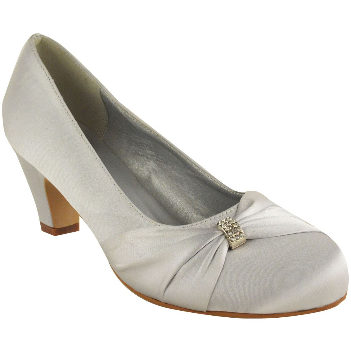 Womens Evening Shoes Low Heel Silver
