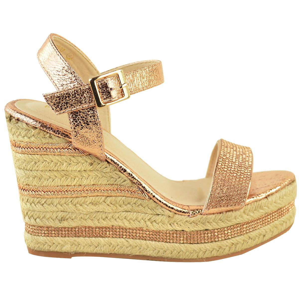 Womens-Ladies-Wedged-High-Heel-Sandals-Raffia-Diamante-Party-Shoes-Summer-Size thumbnail 9