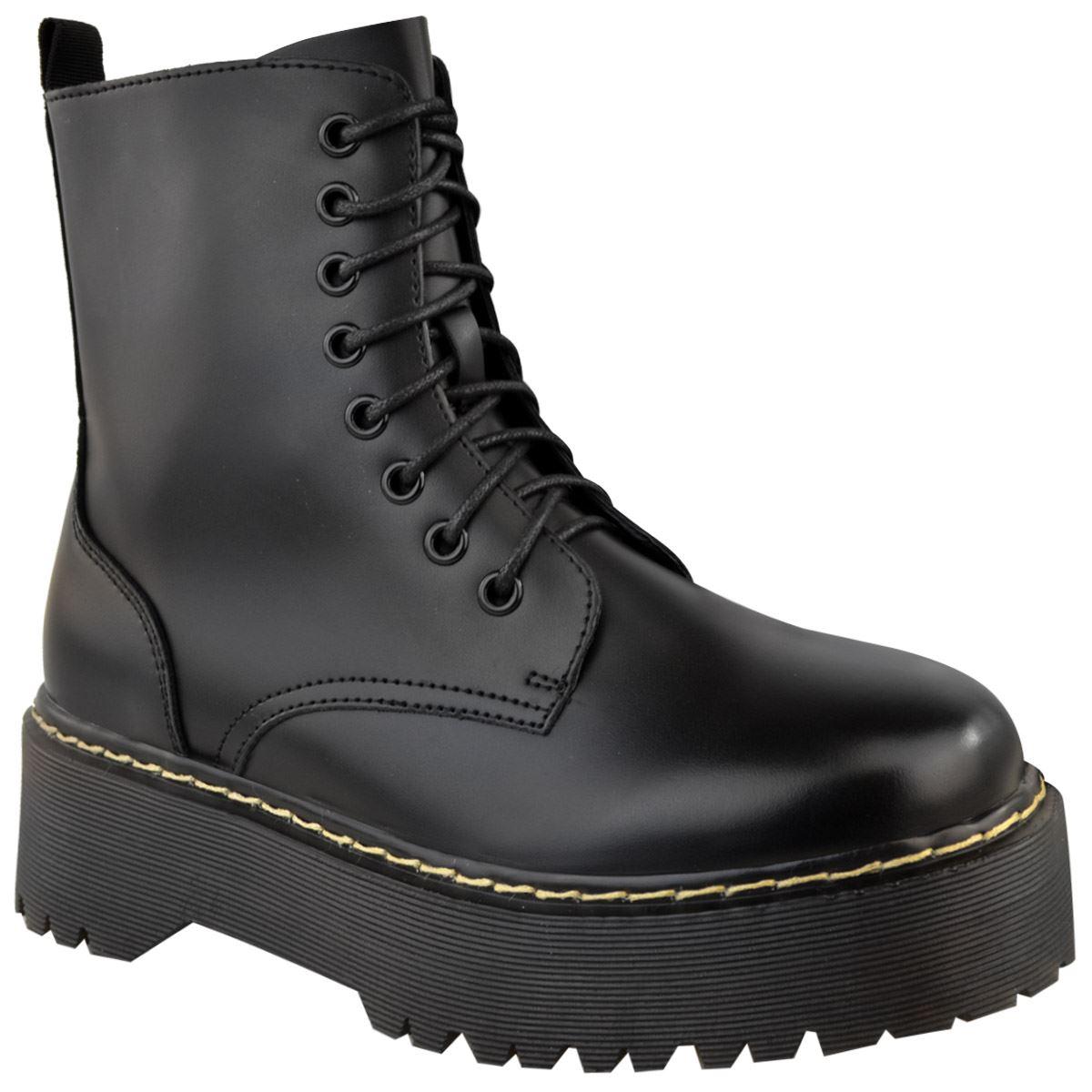 Womens-Ladies-Chunky-Lace-Up-Ankle-Boots-Platform-Icon-Retro-Goth-Punk-Black miniatuur 3