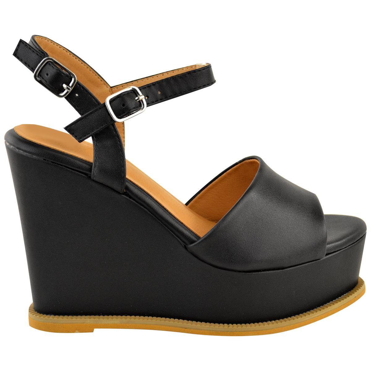 Womens High Mid Heel Wedge Sandals