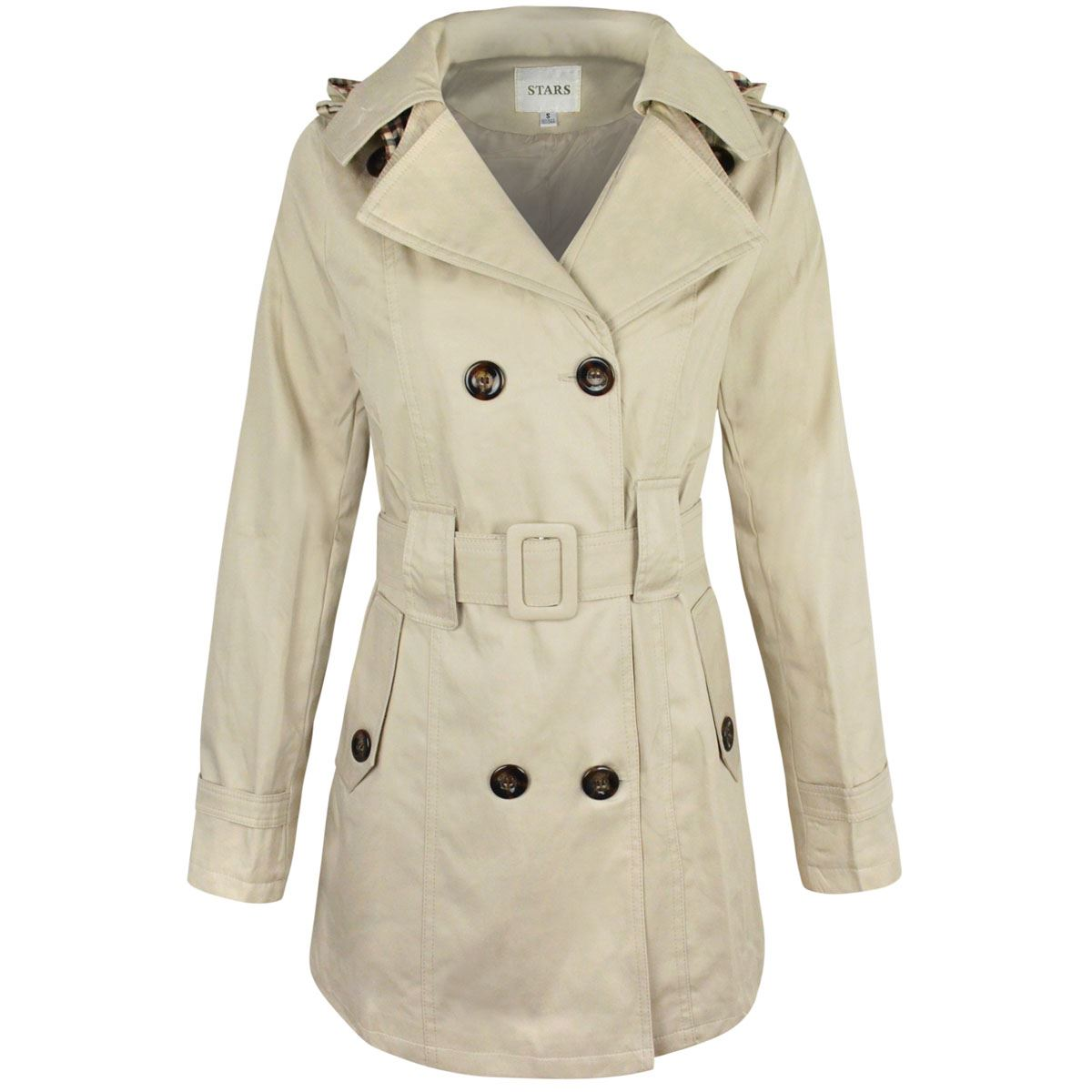 WOMENS-LADIES-DOUBLE-BREASTED-MAC-BELTED-COAT-CANVAS-SMART-JACKET-TRENCH-PARKA thumbnail 9