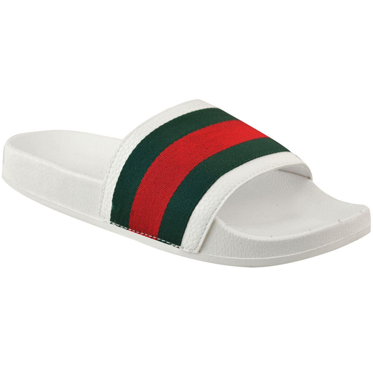 Womens-Striped-Sliders-Slides-Flat-Slip-On-Mules-Summer-Fashion-Sandals-Shoes-Sz thumbnail 9