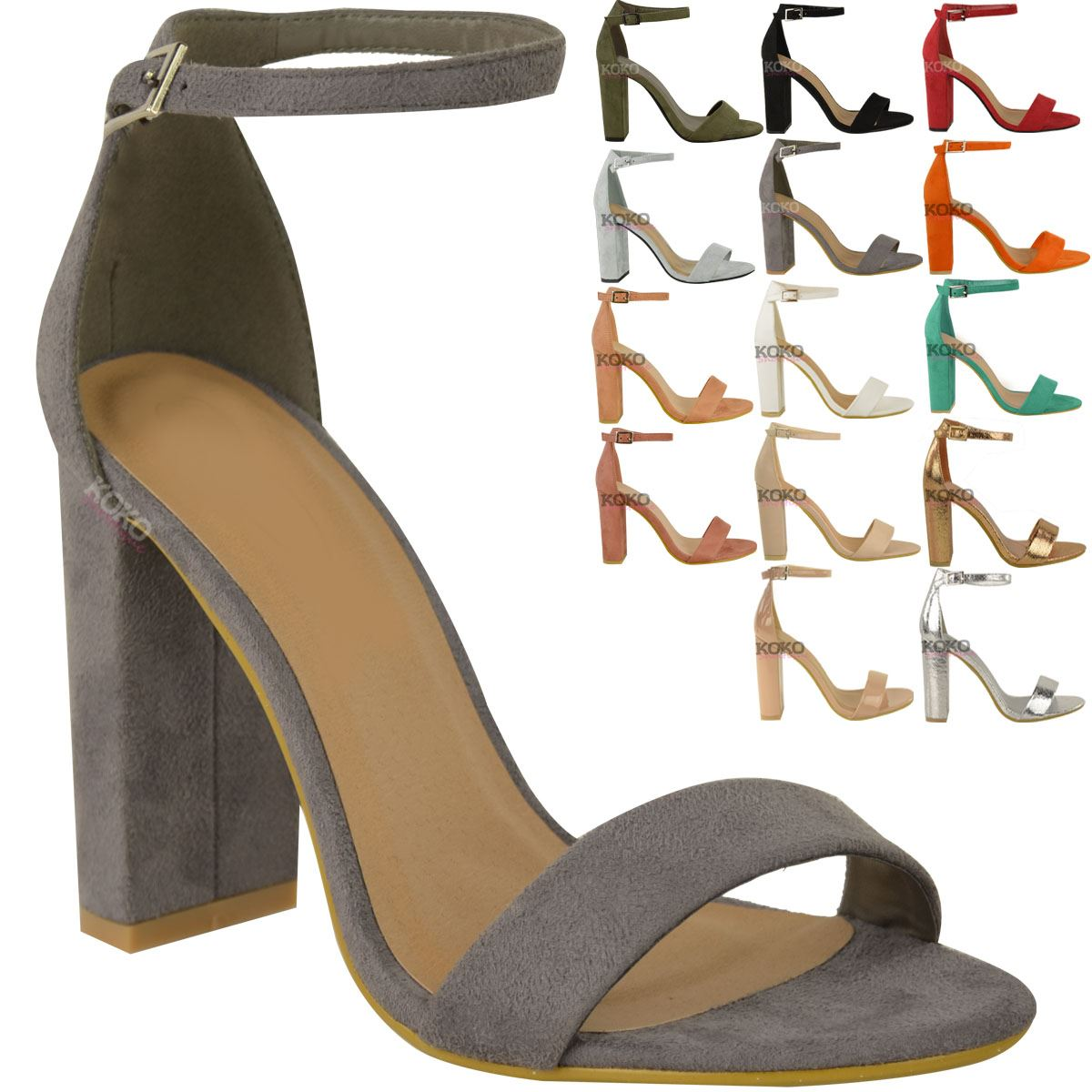 Womens-Ladies-Block-High-Heels-Ankle-Strap-Sexy-Open-Toe-Sandals-Shoes-Size-New