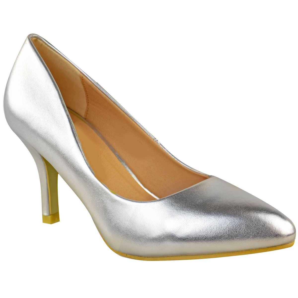 Womens Ladies Low Mide Heel Silver