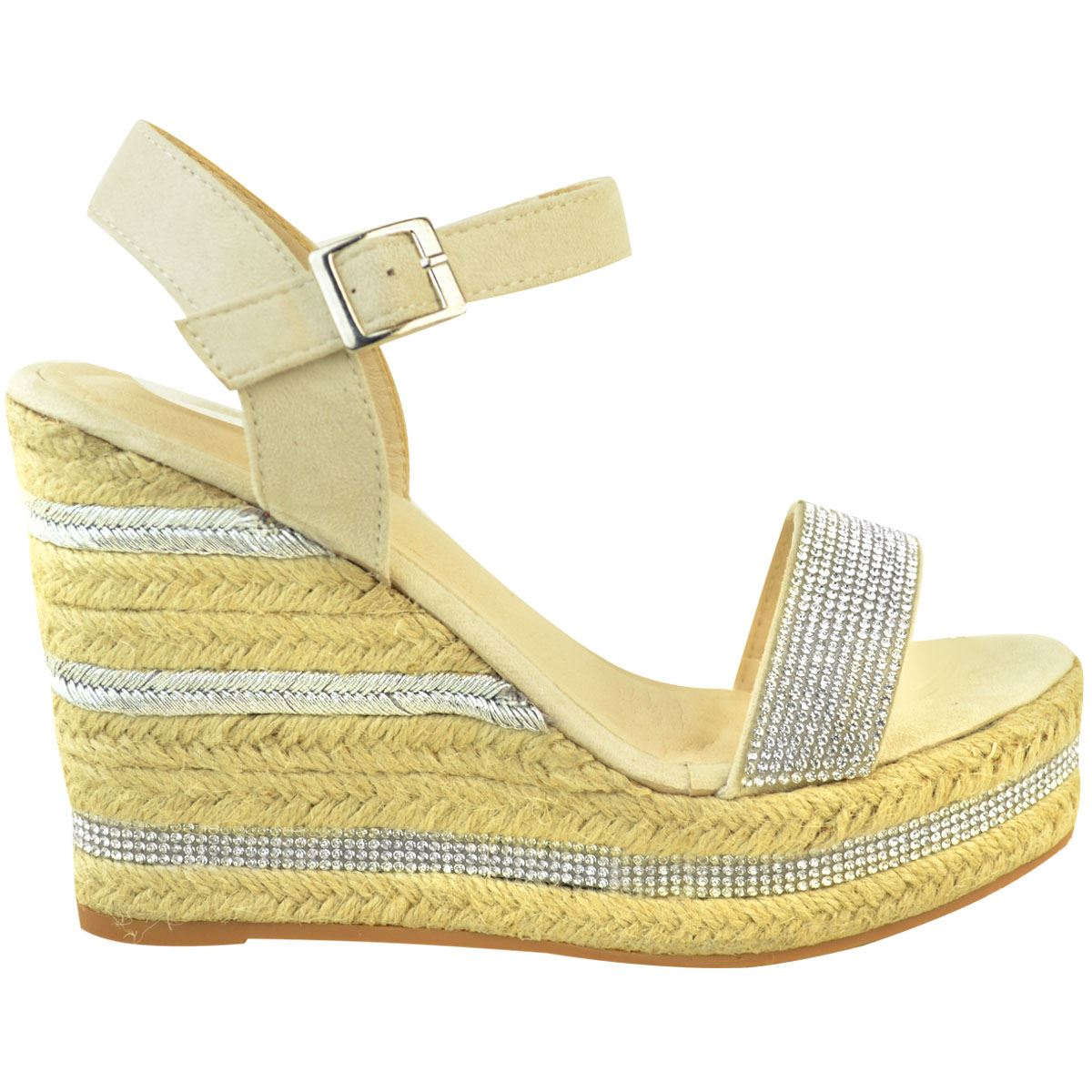 Womens-Ladies-Wedged-High-Heel-Sandals-Raffia-Diamante-Party-Shoes-Summer-Size thumbnail 4