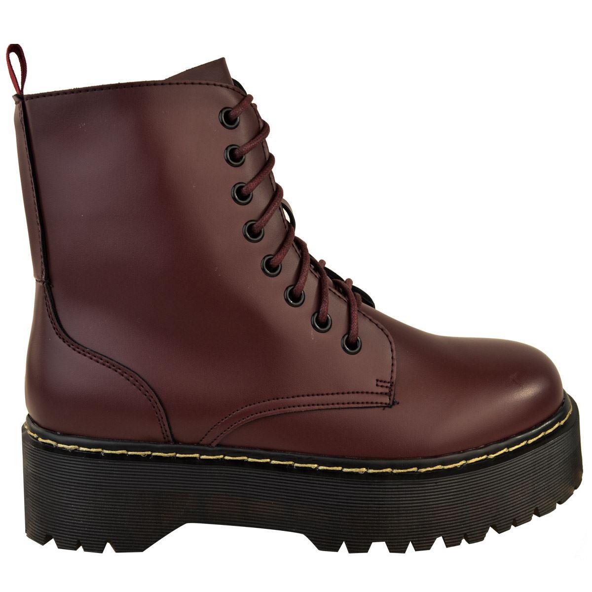 Womens-Ladies-Chunky-Lace-Up-Ankle-Boots-Platform-Icon-Retro-Goth-Punk-Black miniatuur 14