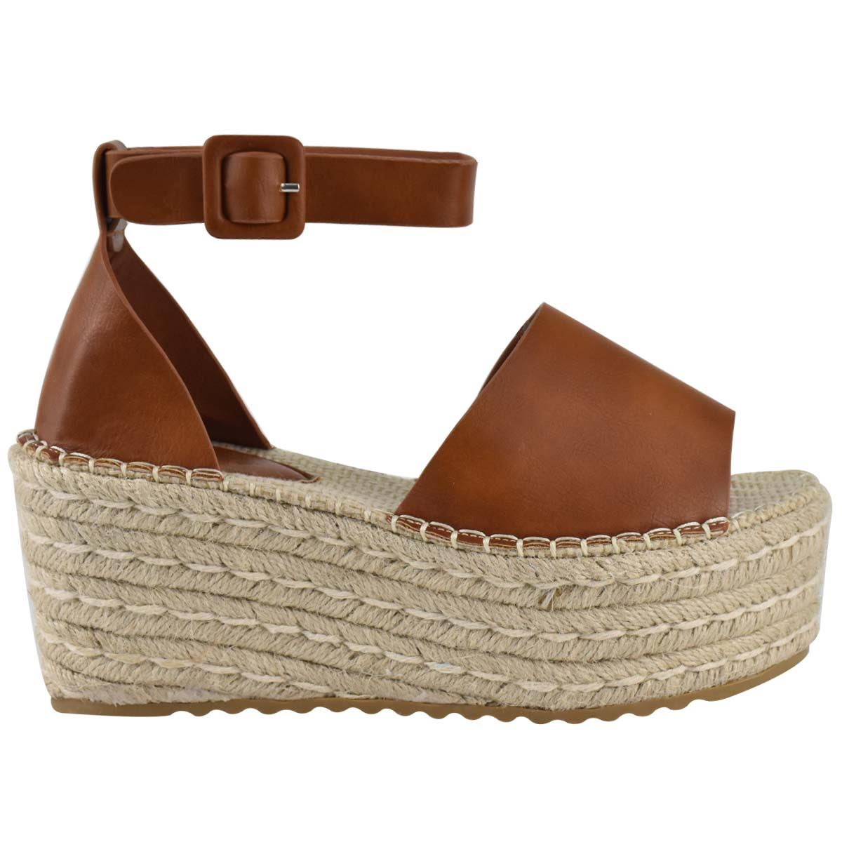Womens-Flatform-Platform-High-Wedge-Black-Tan-Faux-Leather-Summer-Sandals-Size thumbnail 9