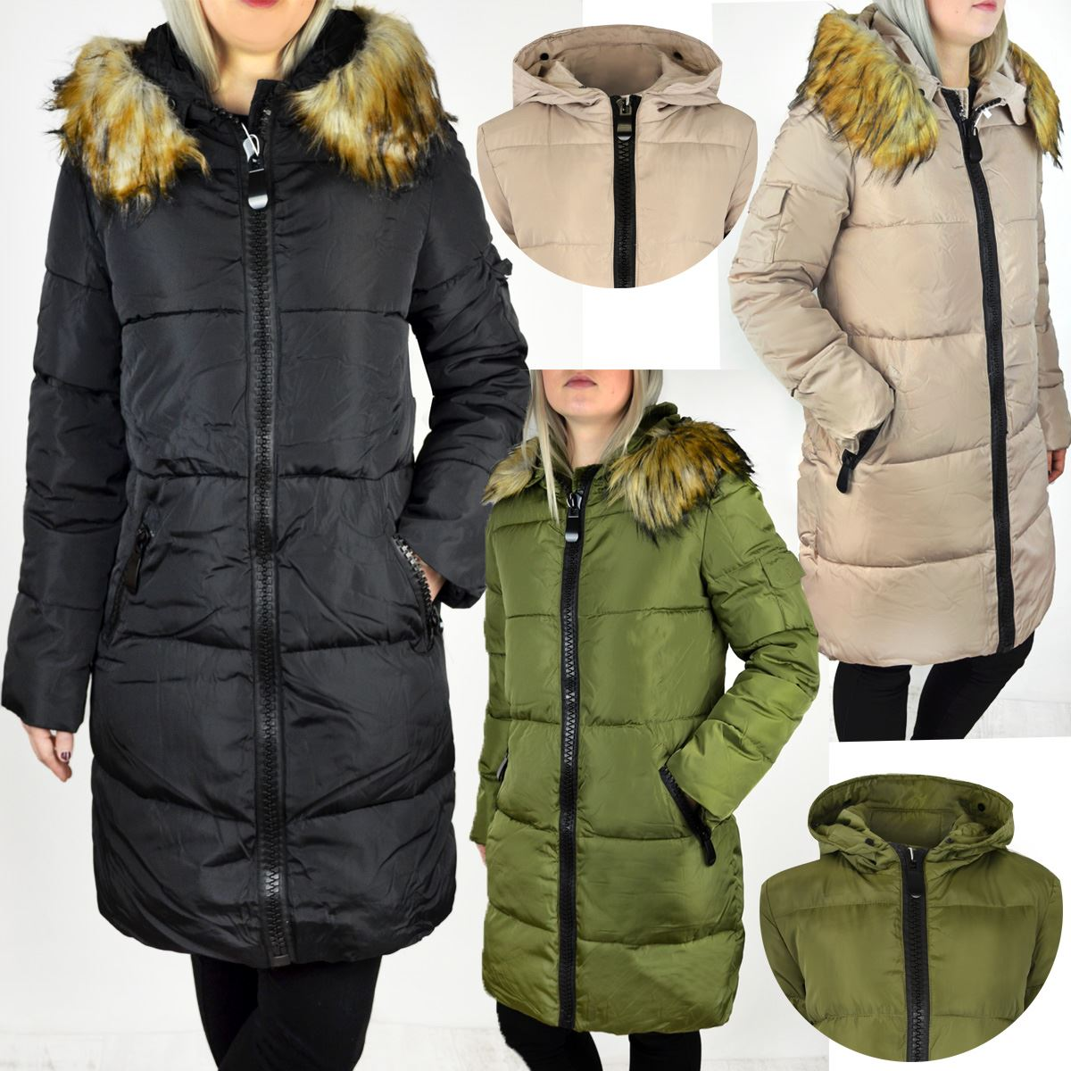 Womens Ladies Long Winter Coat Detachable Furry Hood Warm Quilted
