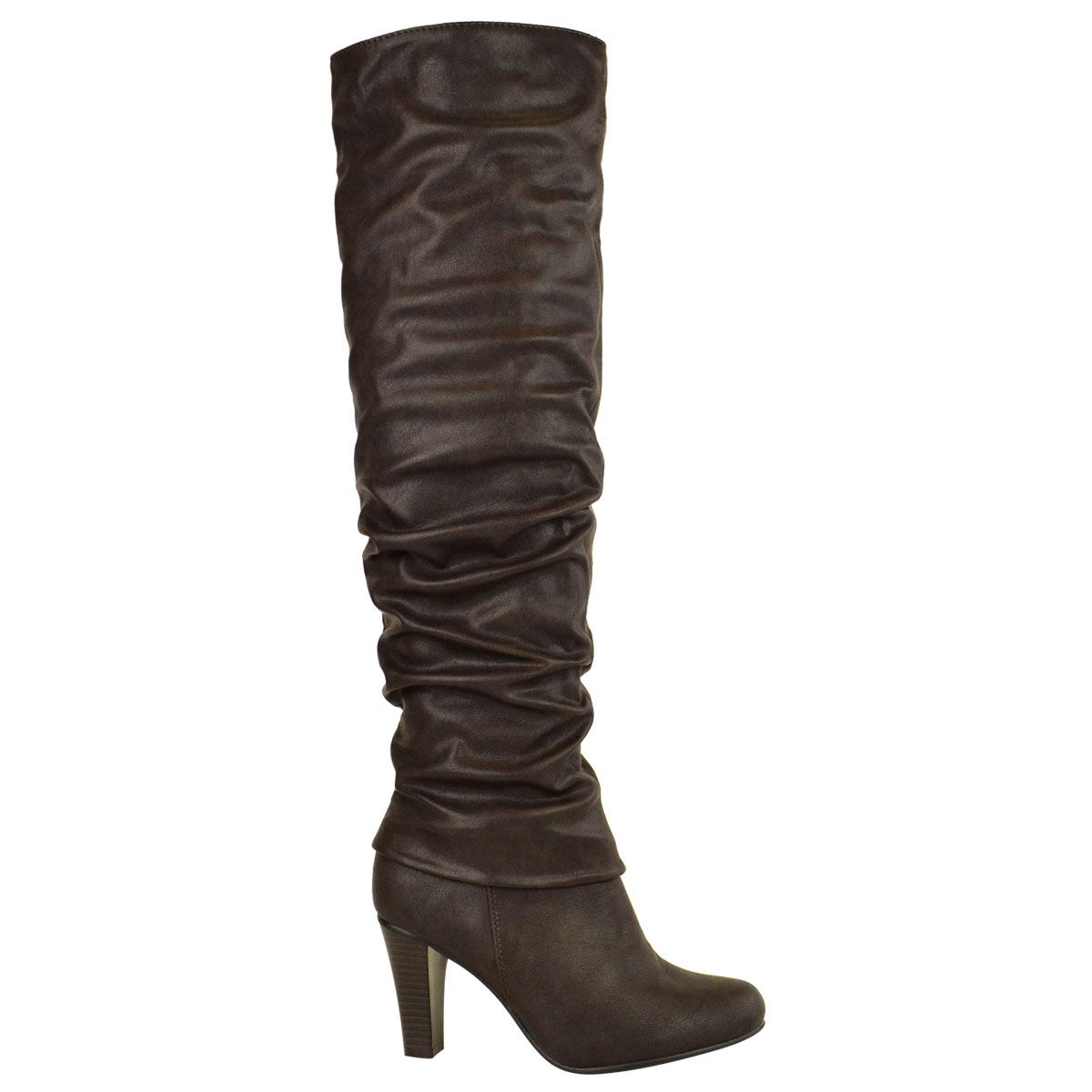 Womens-Ladies-Knee-Calf-High-Boots-Block-Heels-Stretchy-Thigh-Shoes-Grip-Size thumbnail 26