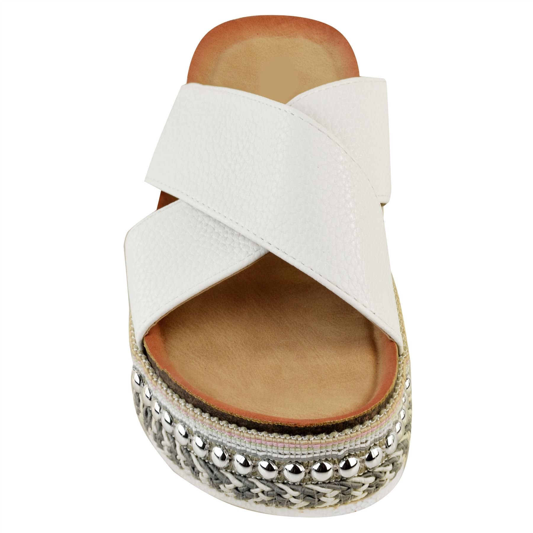 New Womens Bow Flatform Sandals Peep Toe Ladies Pearl Stud Wedges Shoes Platform