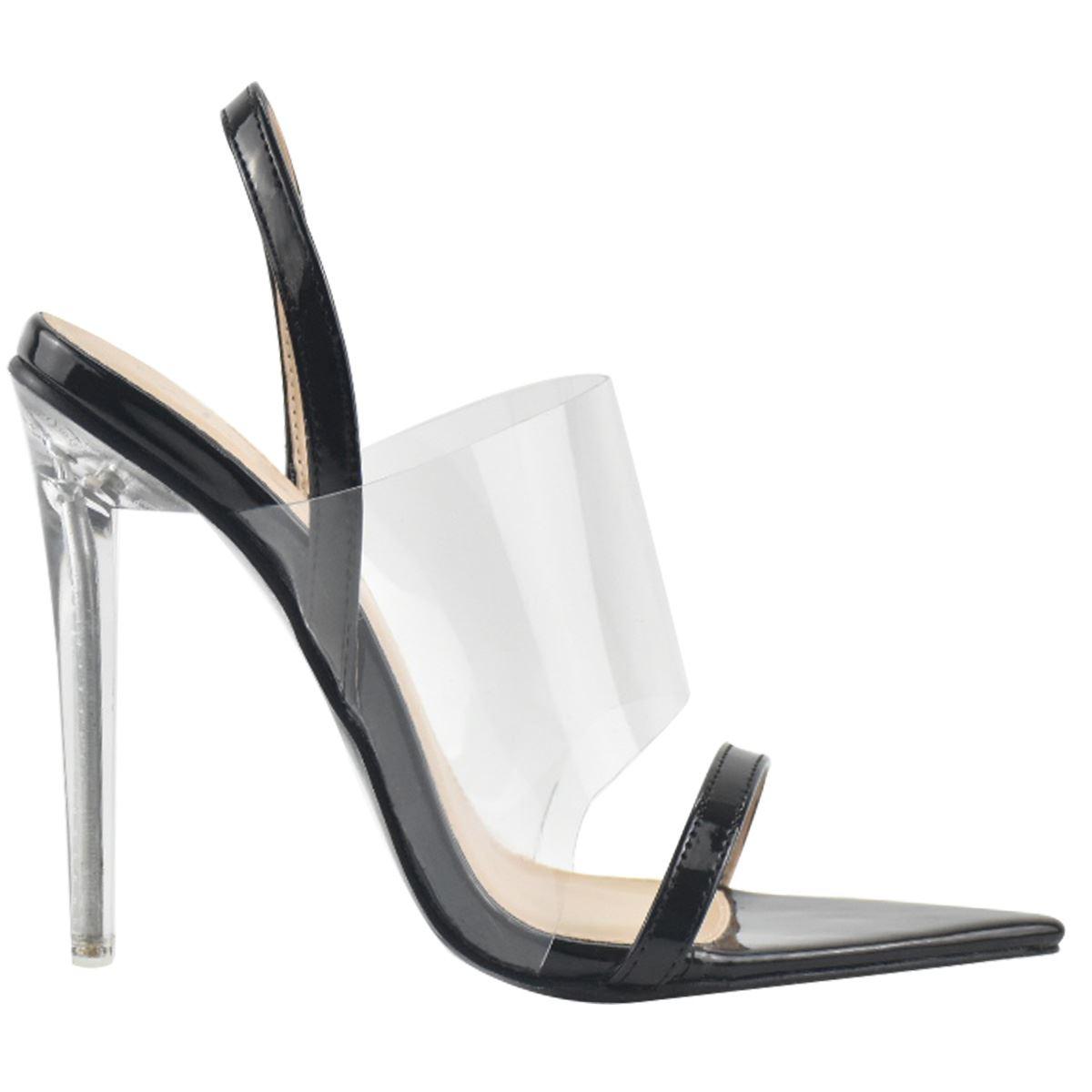 Womens Ladies High Heels Sandals Perspex Clear Pointed Toe