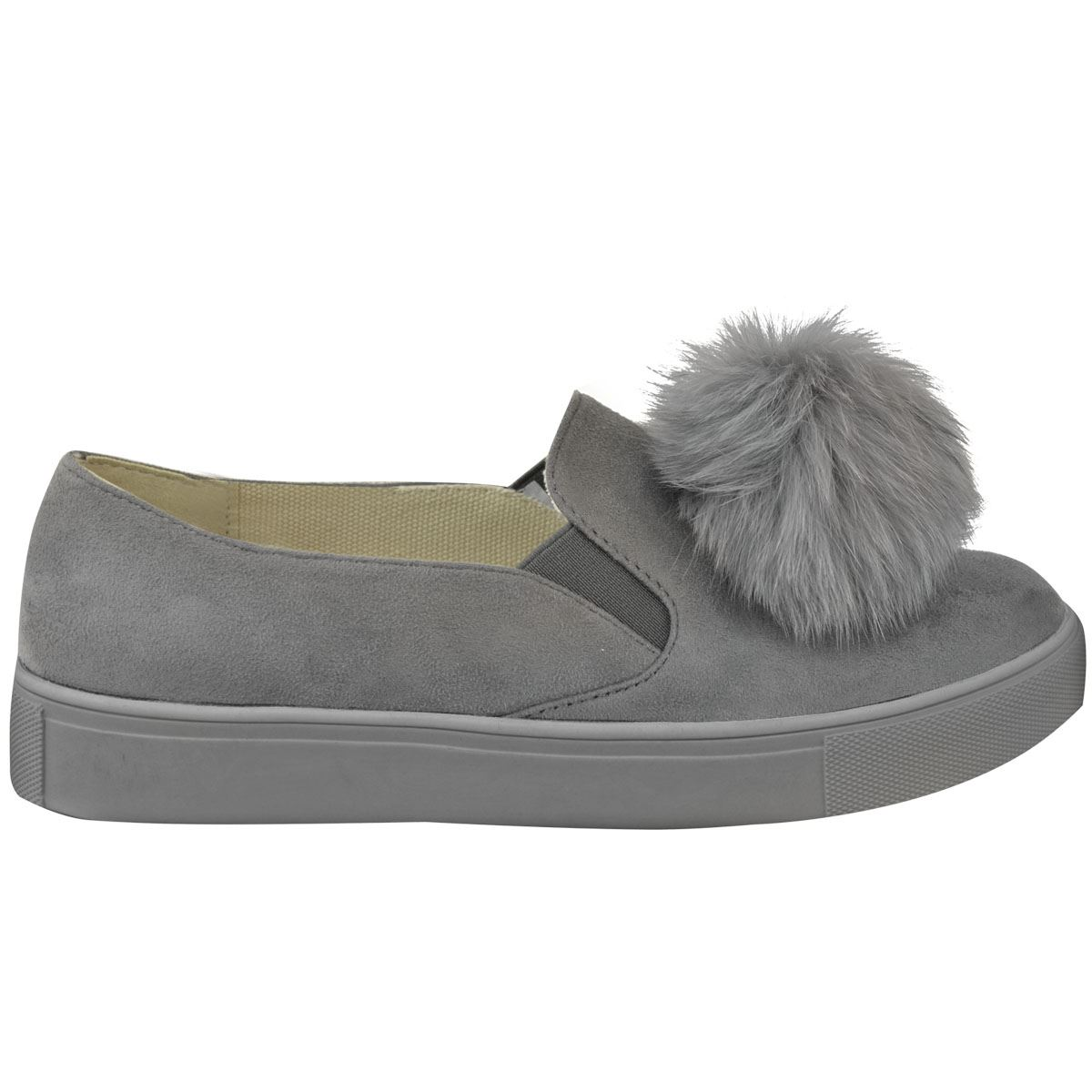 Womens Warm Pom Pom Trainers Ladies Slip On Flats Sneakers Plimsoll Pumps Shoes