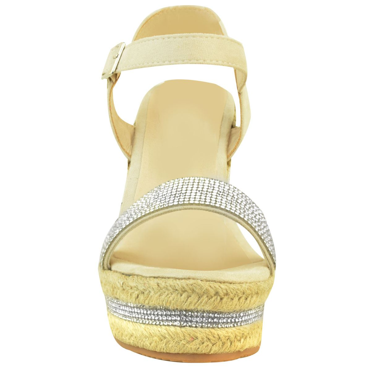 Womens-Ladies-Wedged-High-Heel-Sandals-Raffia-Diamante-Party-Shoes-Summer-Size thumbnail 6