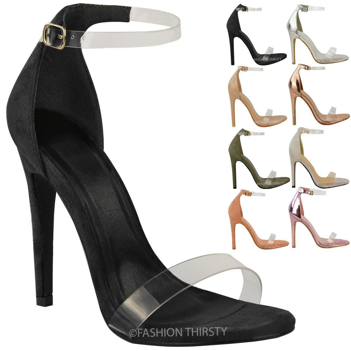 Fashion Thirsty Womens High Heel Peep Toe Barely There Ankle Strappy Buckle Sandals Size  2HRQUF7QD