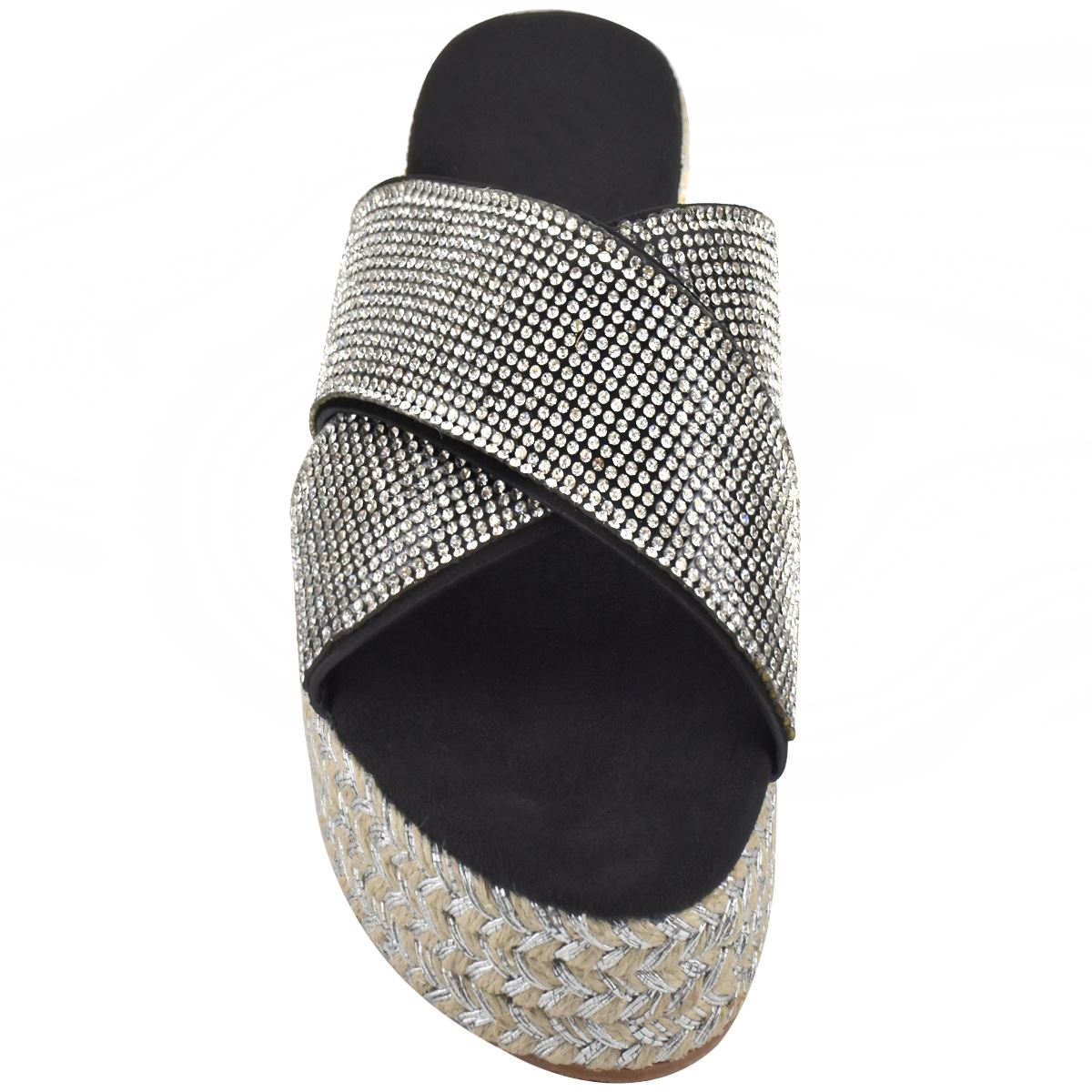 Womens-Diamante-Slip-On-Sandals-Flatforms-Sparkly-Platform-Summer-Size-UK thumbnail 6