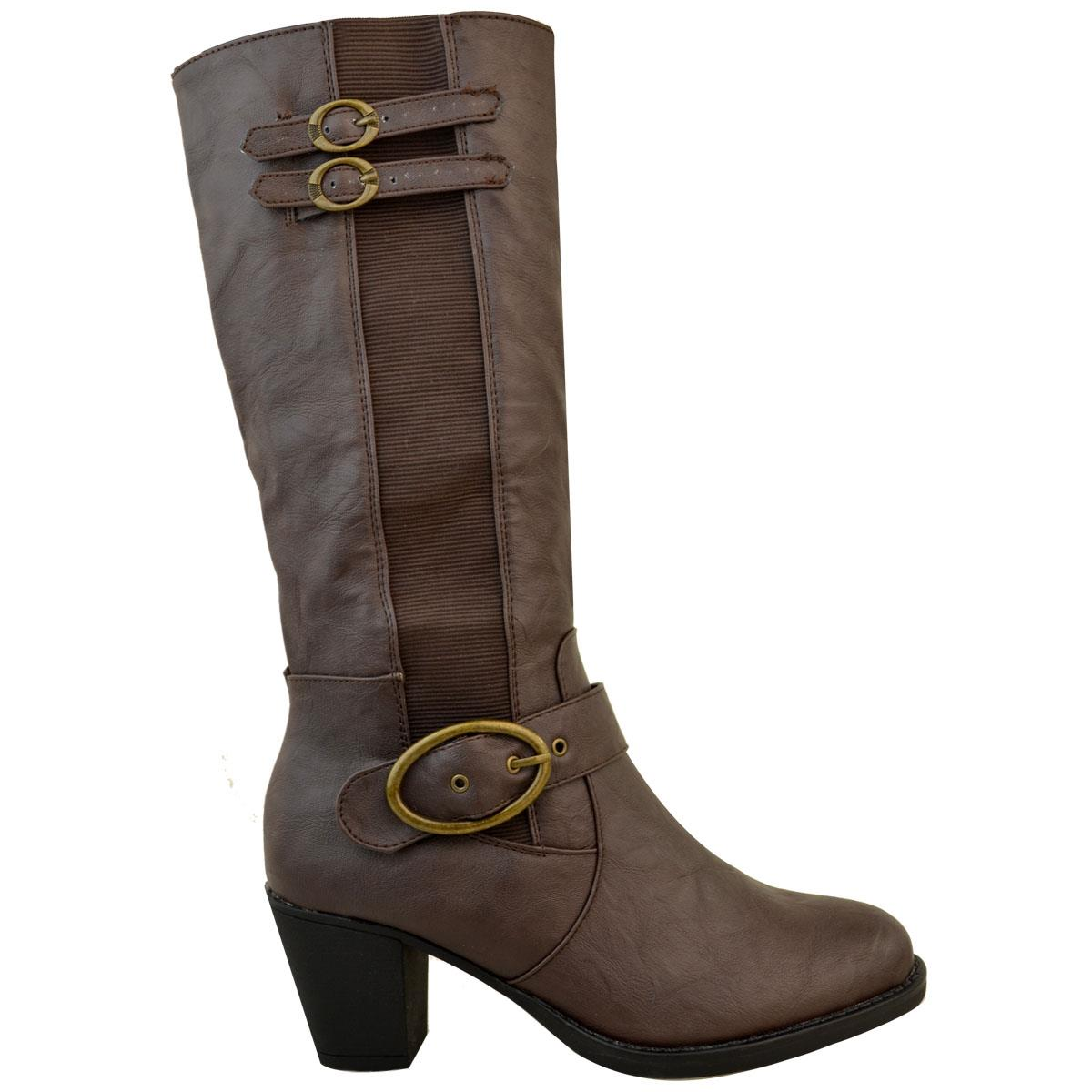 Womens-Ladies-Knee-Calf-High-Boots-Block-Heels-Stretchy-Thigh-Shoes-Grip-Size thumbnail 17