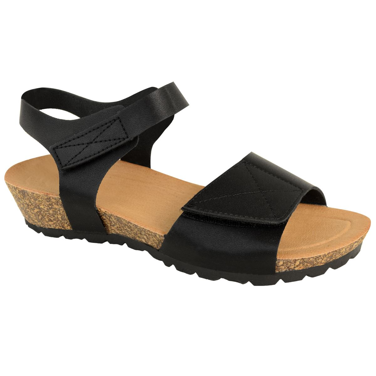 NEW LADIES WIDE FIT CUSHION COMFORT FLAT SANDALS ADJUSTABLE LOW WEDGE SLINGBACK