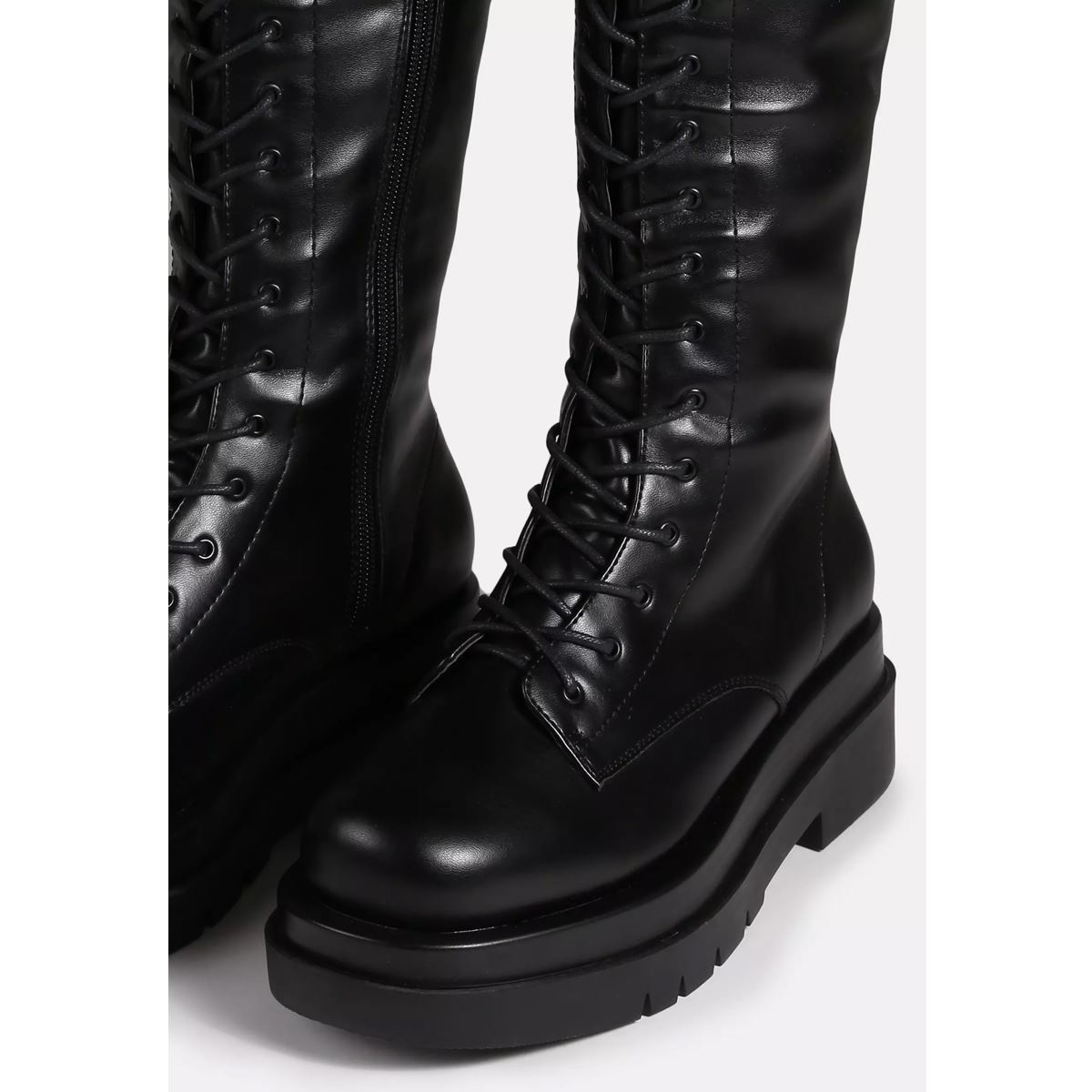 thumbnail 6 - Womens-Ladies-Lace-Up-Knee-Boots-Calf-High-Shoe-Grunge-Chunky-Sole-Size-Zip-New