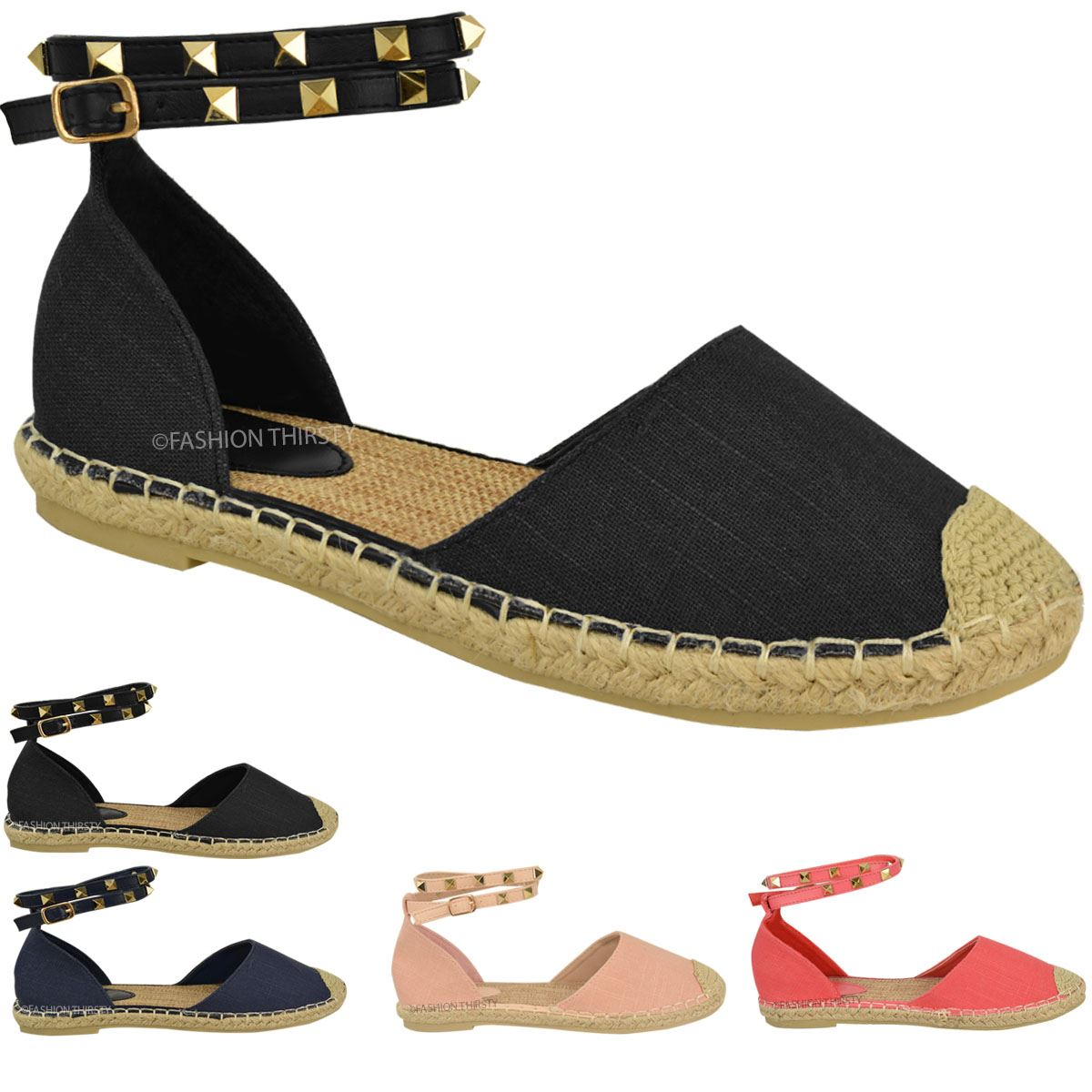 Womens Ladies Ankle Strappy Flat Sandals Summer ...