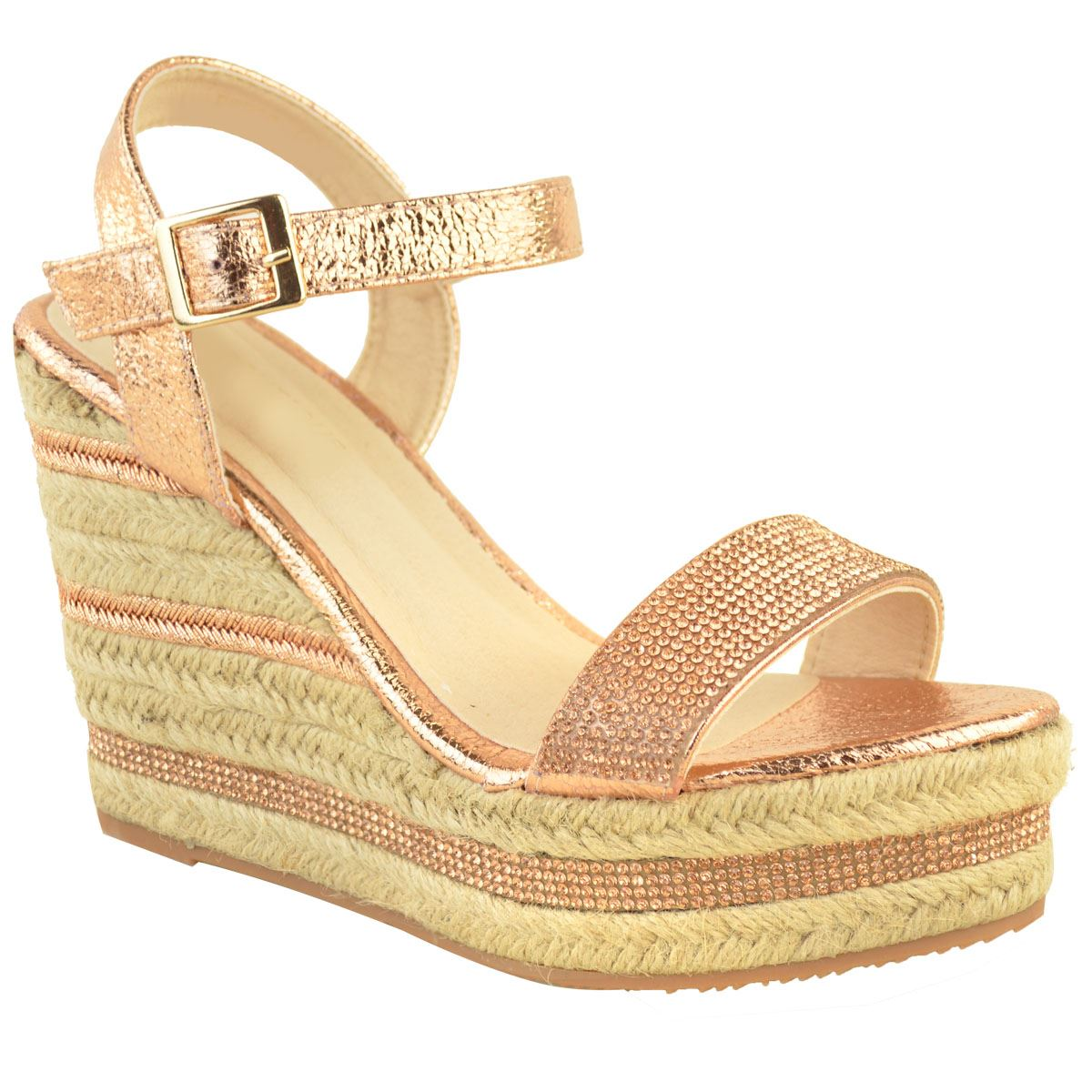 Womens-Ladies-Wedged-High-Heel-Sandals-Raffia-Diamante-Party-Shoes-Summer-Size thumbnail 8