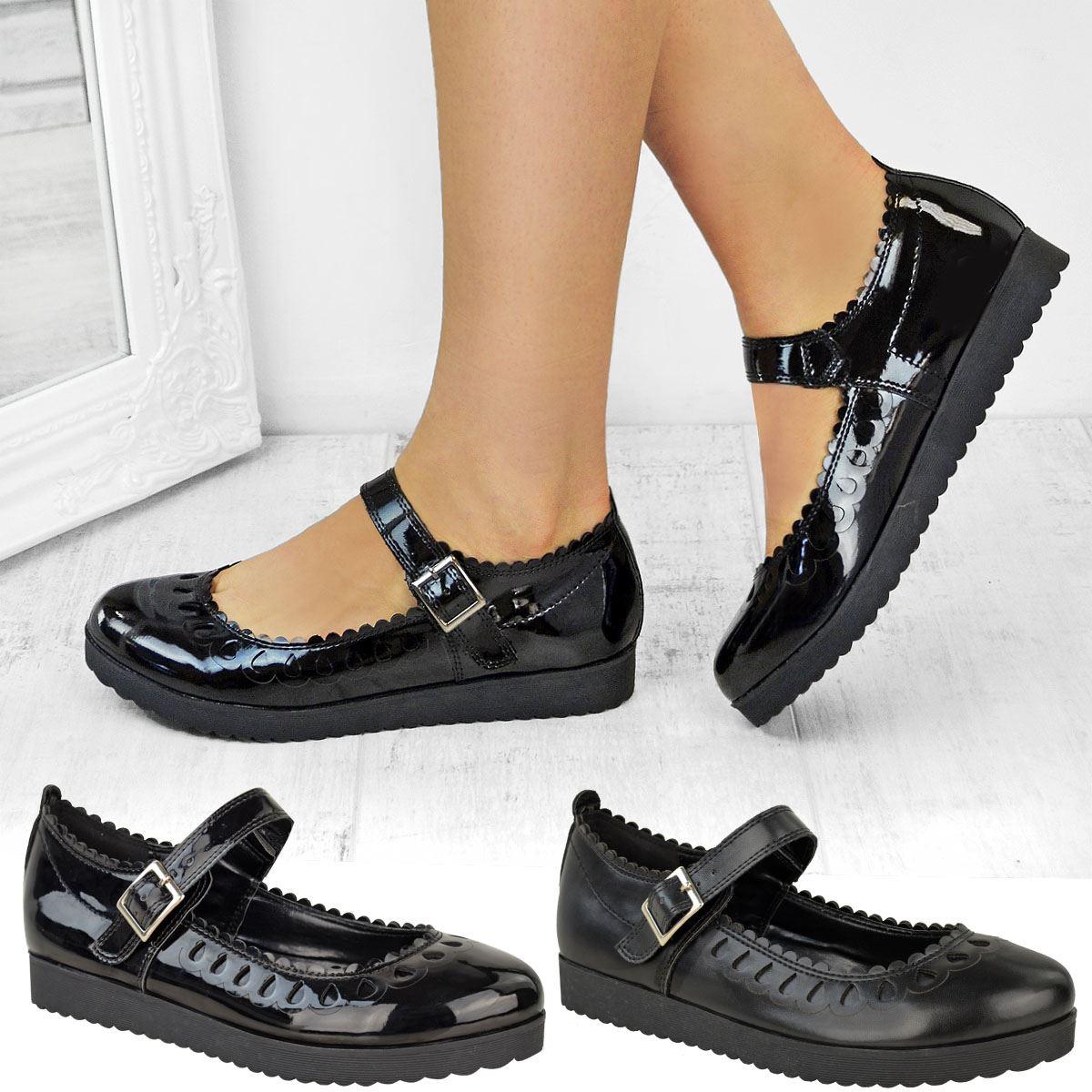 Para Mujeres Niñas Negro Plano regreso a la Escuela Zapatos Suela Agarre de goma Smart Casual Tamaño | eBay