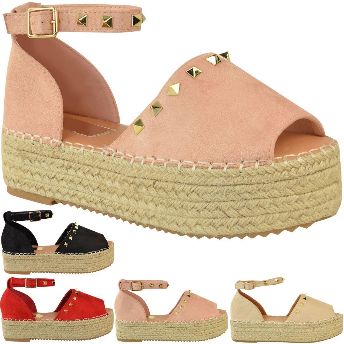 Womens-Ladies-Flatforms-Sandals-Studded-Embellished-Summer-Platforms-Shoes-Size