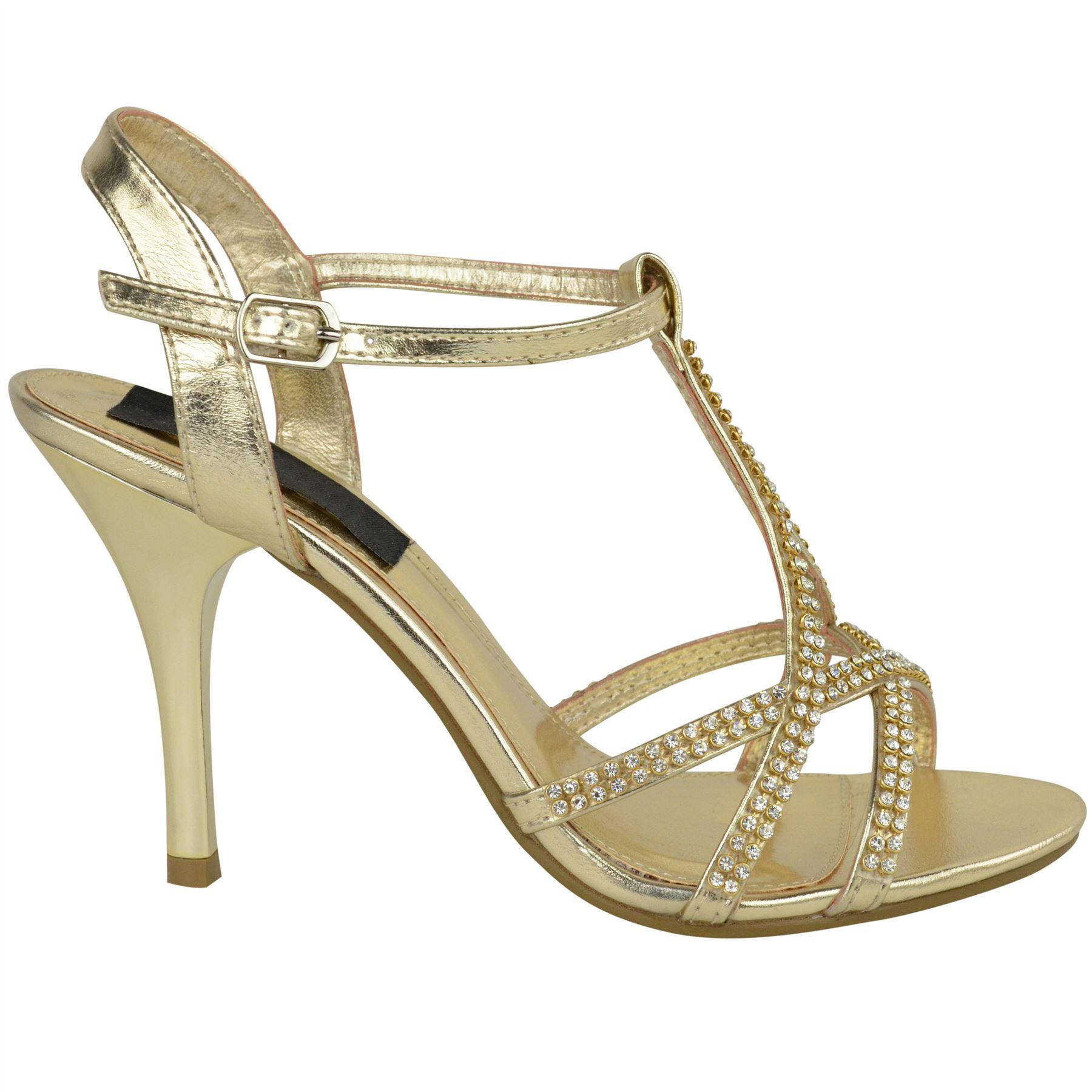 Womens Ladies Diamante Mid Heel Wedding Bridal Prom Shoes