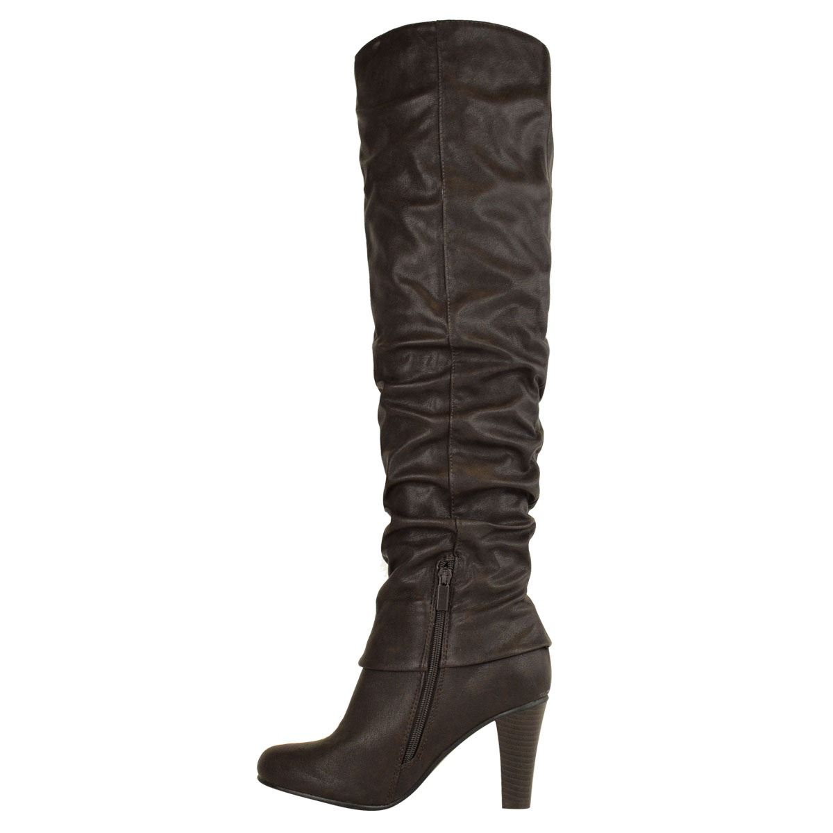 Womens-Ladies-Knee-Calf-High-Boots-Block-Heels-Stretchy-Thigh-Shoes-Grip-Size thumbnail 27