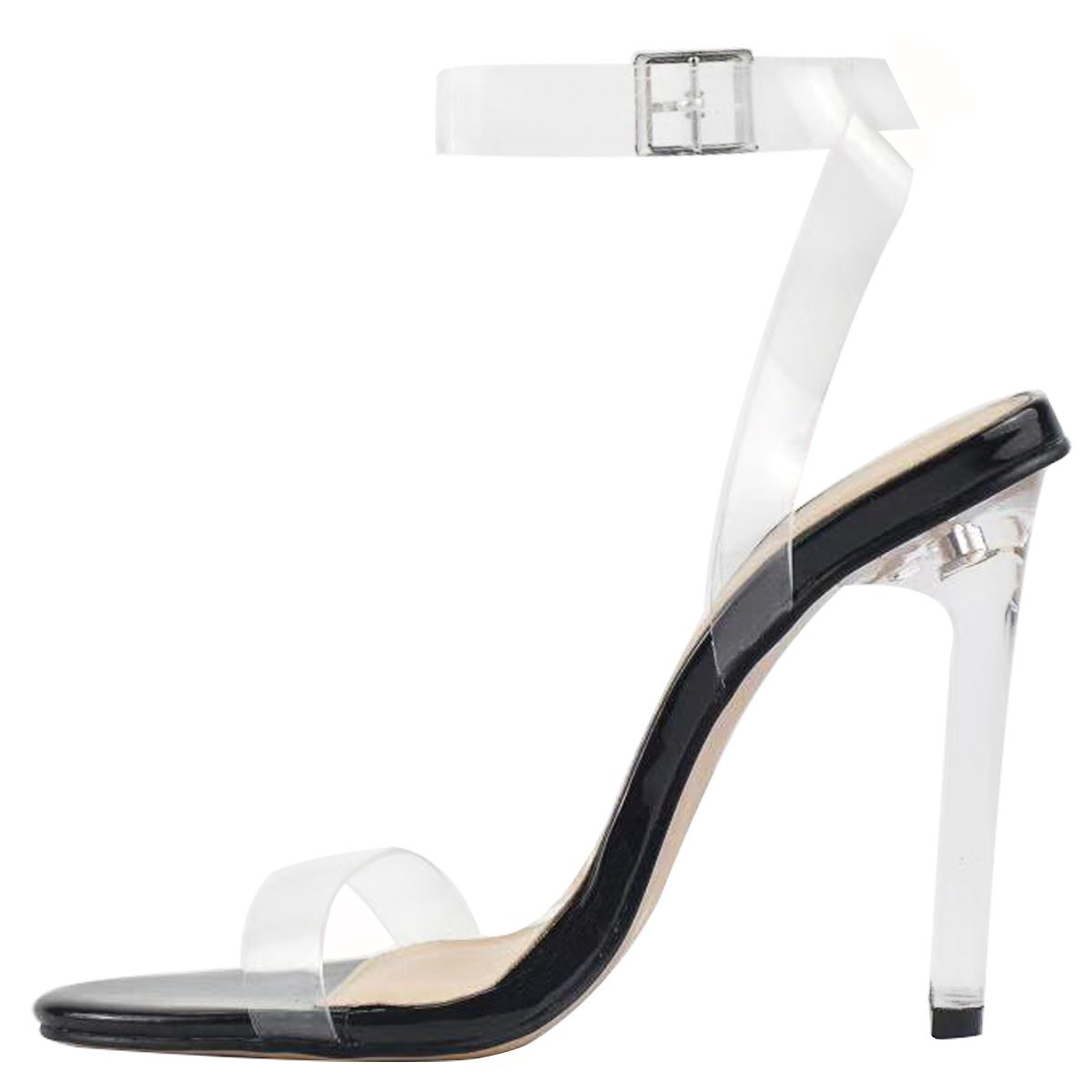 Details about New Womens High Heel Nude Black Perspex Clear Strappy Party Sandals Barely There