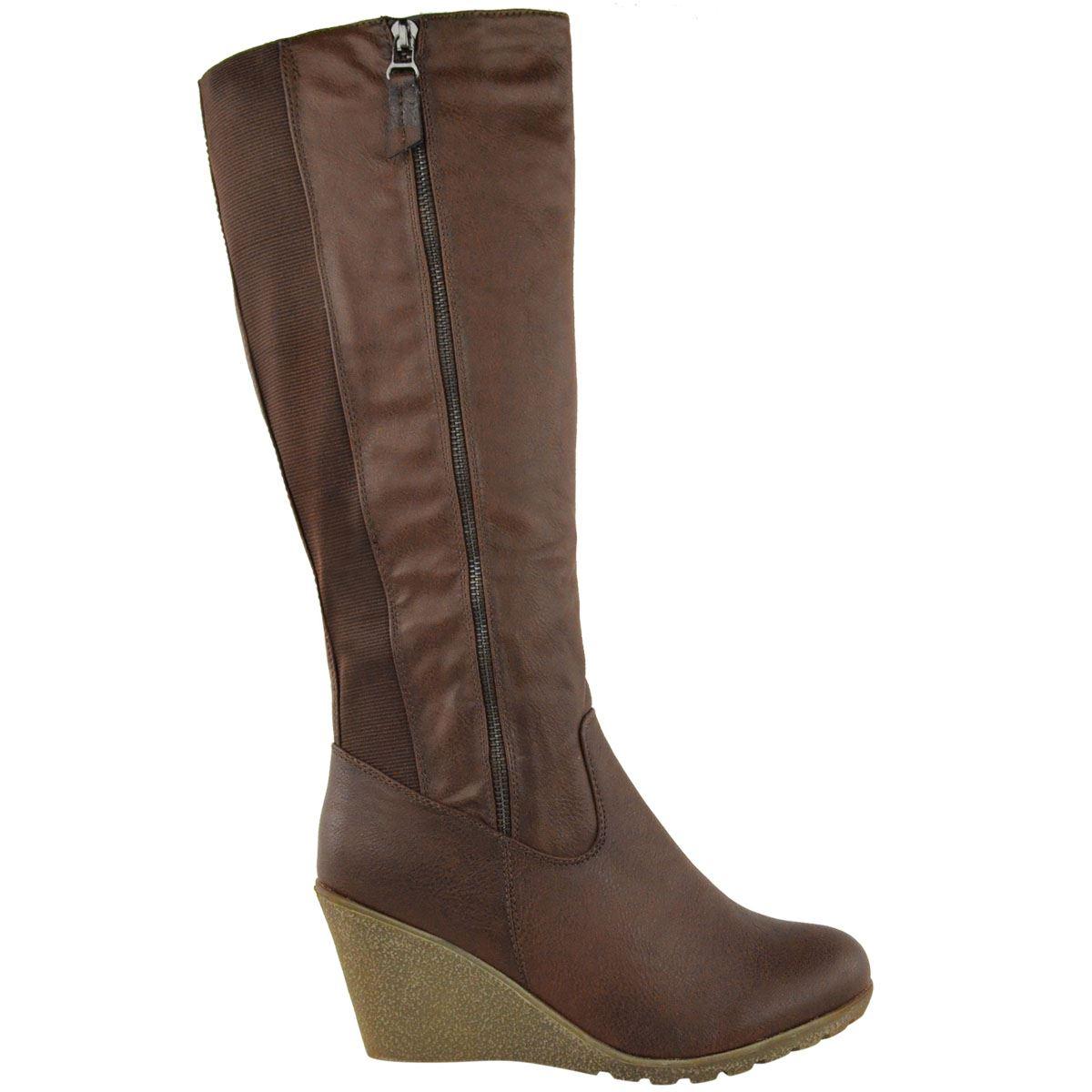 womens wedge heel knee high mid calf wide leg