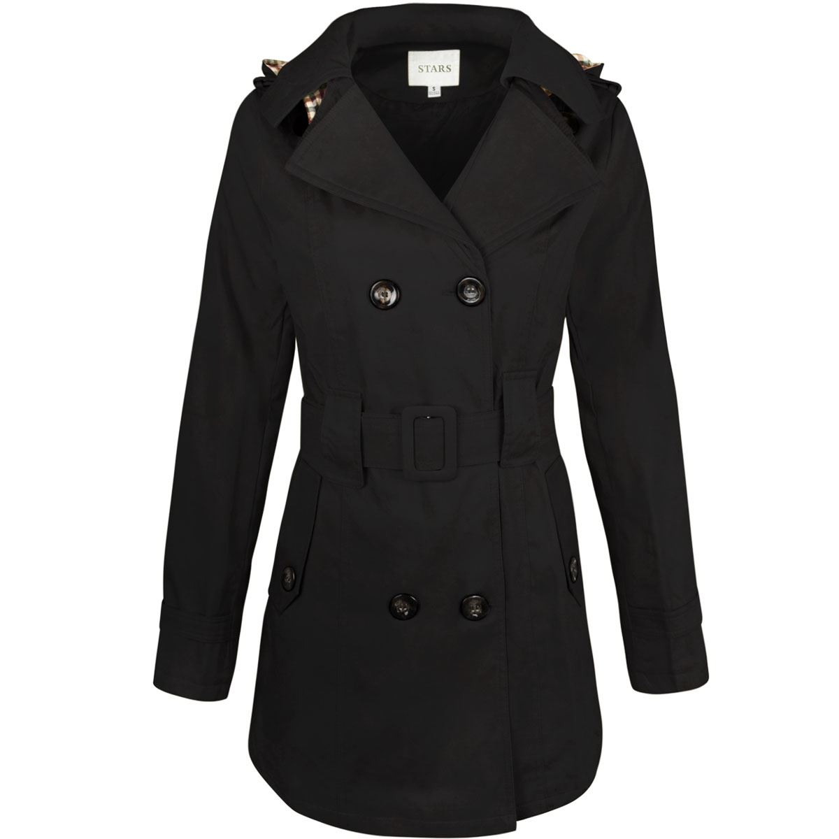 WOMENS-LADIES-DOUBLE-BREASTED-MAC-BELTED-COAT-CANVAS-SMART-JACKET-TRENCH-PARKA thumbnail 3
