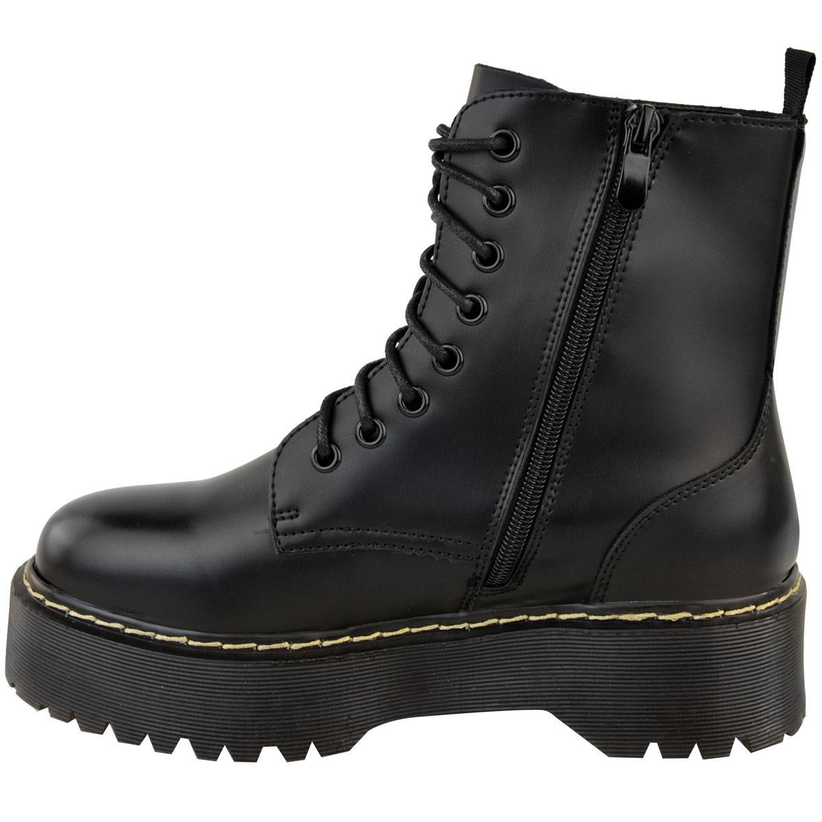 Womens-Ladies-Chunky-Lace-Up-Ankle-Boots-Platform-Icon-Retro-Goth-Punk-Black miniatuur 5