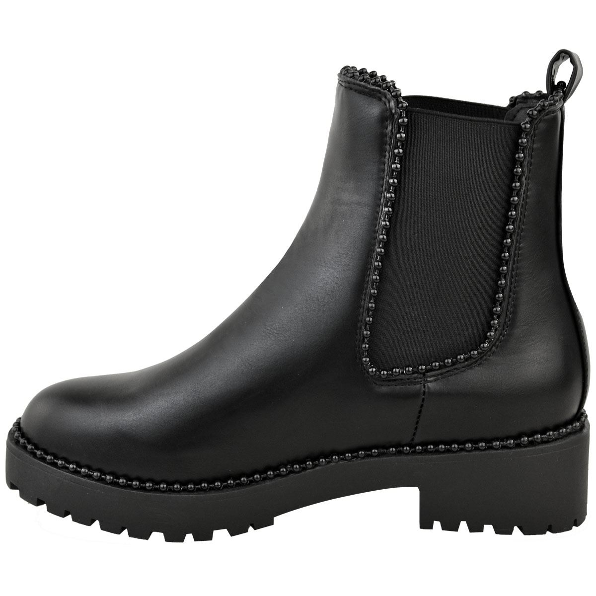 Womens-Ladies-Black-Faux-Leather-Ankle-Boots-Studded-Low-Block-Heel-Chelsea